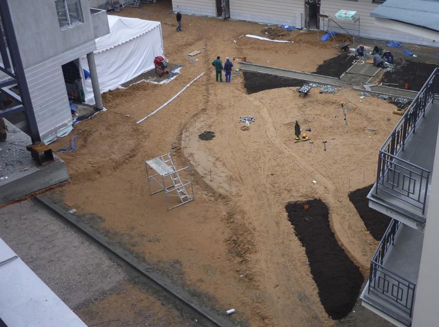 Zagospodarowywanie terenu wokół nowopowstałego budynku mieszkalnego