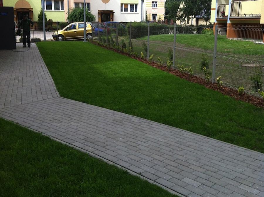 Fragment osiedlowego trawnika